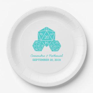 紙皿を結婚する水D20のサイコロ ペーパープレート