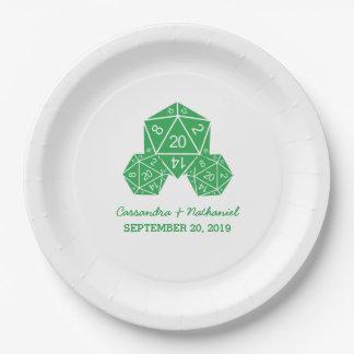 紙皿を結婚する緑D20サイコロ ペーパープレート