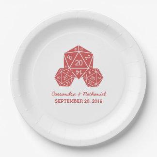紙皿を結婚する赤いD20サイコロ ペーパープレート