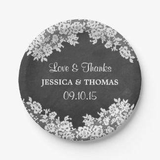 紙皿を結婚する黒板及び白いレース ペーパープレート スモール