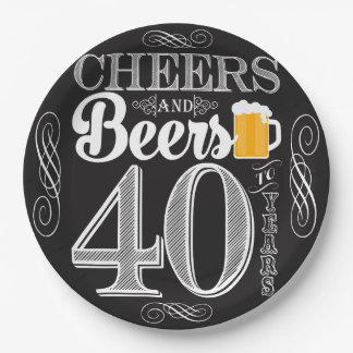 紙皿40年のへの応援そしてビール9つ ペーパープレート