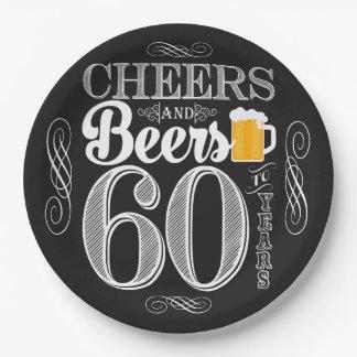紙皿60年のへの応援そしてビール9つ ペーパープレート
