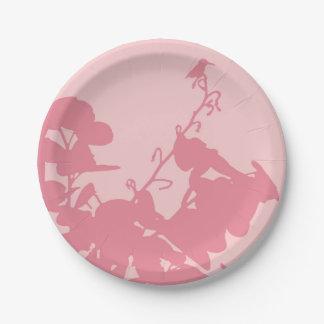 """紙皿7""""ピンクのハチドリ ペーパープレート"""