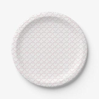 紙皿-多数ワイヤーハート ペーパープレート
