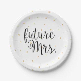 紙皿-金ゴールドの点の未来の夫人 ペーパープレート