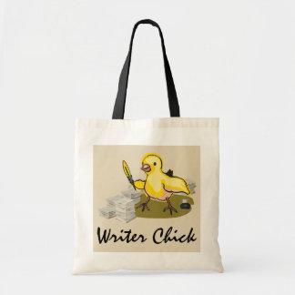 紙、羽のクイルおよびインクを持つ作家のひよこ トートバッグ