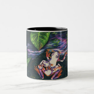 紙-1992のカエル家族色の鉛筆 ツートーンマグカップ