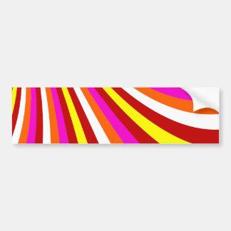 素晴しいショッキングピンク赤い黄橙色のストライプなパターン バンパーステッカー