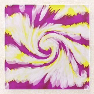 素晴しいピンクの黄色く白いTieDyeの渦巻の抽象芸術 ガラスコースター
