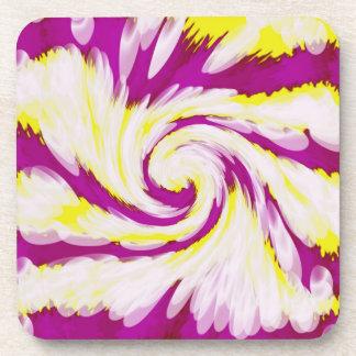 素晴しいピンクの黄色く白いTieDyeの渦巻の抽象芸術 コースター
