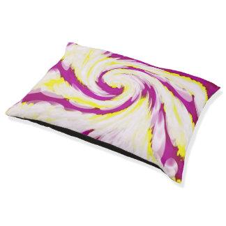 素晴しいピンクの黄色く白いTieDyeの渦巻の抽象芸術 ペットベッド