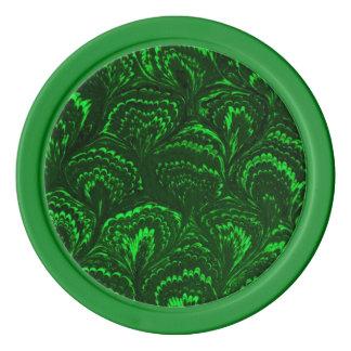 素晴しいレトロの抽象芸術の渦巻のエメラルドグリーン ポーカーチップ