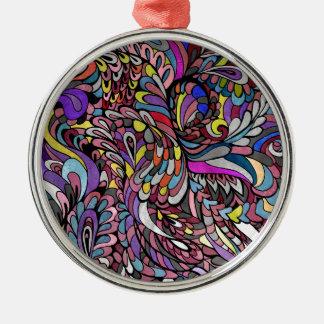 素晴しい紫色の孔雀の多彩でファンキーなペイズリー メタルオーナメント