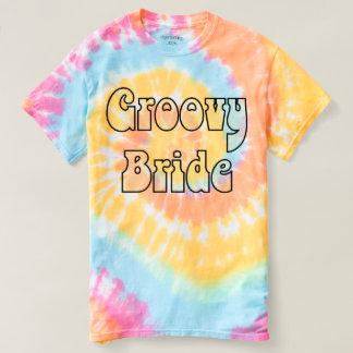 素晴しい花嫁のパステル調の虹の螺線形の絞り染め Tシャツ