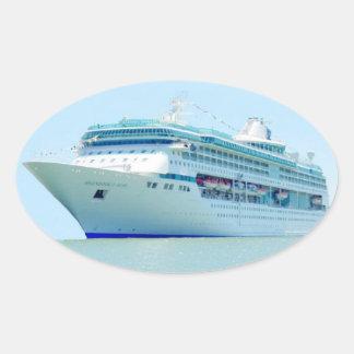 素晴しい遊航船のステッカー 楕円形シール