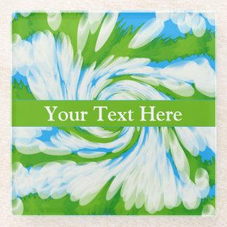 素晴しい青緑の絞り染めの渦巻 ガラスコースター