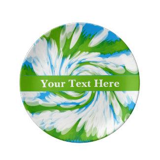 素晴しい青緑の絞り染めの渦巻 磁器プレート