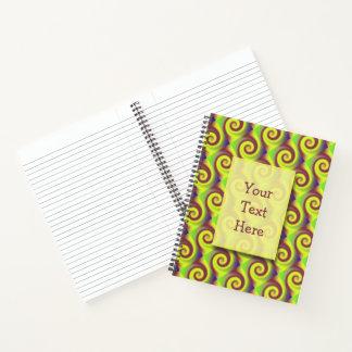 素晴しい黄色ブラウンの渦巻の抽象芸術パターン ノートブック