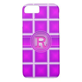 素晴らしいの紫色のマゼンタの星明かり3Dのモノグラム iPhone 8/7ケース