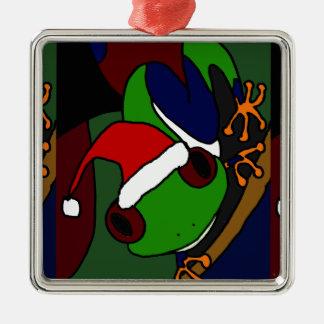 素晴らしいアマガエルのクリスマスの芸術 メタルオーナメント