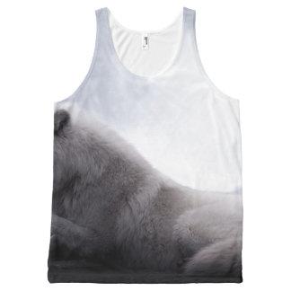 素晴らしいオオカミおよび月の白いオオカミ オールオーバープリントタンクトップ