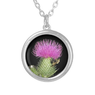 素晴らしいスコットランドの花のアザミの紫色のイメージ シルバープレートネックレス