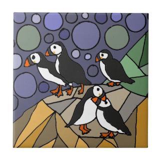 素晴らしいツノメドリの鳥の芸術の抽象芸術のオリジナル タイル