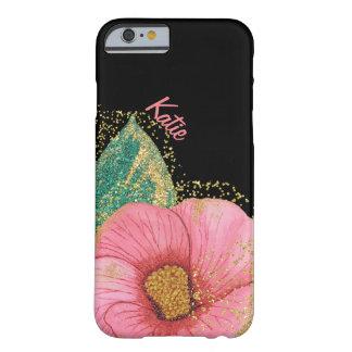 素晴らしいピンクおよび金ゴールドのハイビスカスのiPhone6ケース Barely There iPhone 6 ケース