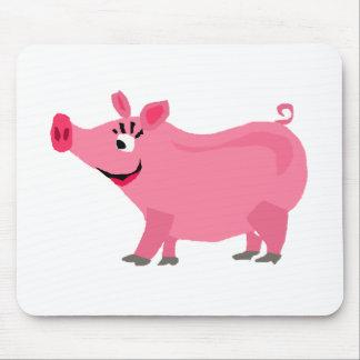素晴らしいピンクのブタの身に着けている口紅の芸術 マウスパッド