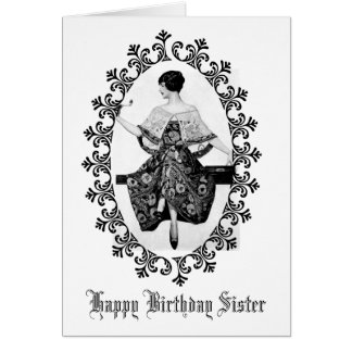 素晴らしいヴィンテージの女性の黒のレースの誕生日の姉妹 グリーティングカード