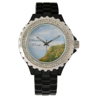 素晴らしい世界はギフトの休日の空のケシを見ます 腕時計