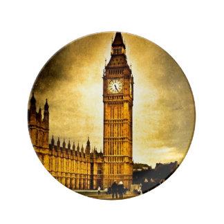 素晴らしい時計-ヴィンテージロンドン 磁器プレート