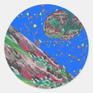 素晴らしい波の洪水の地球の空のおもしろいのリターンギフト ラウンドシール