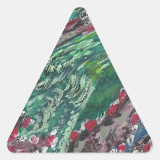 素晴らしい波の洪水の地球の空のおもしろいのリターンギフト 三角形シール