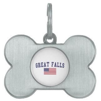素晴らしい滝米国の旗 ペットネームタグ