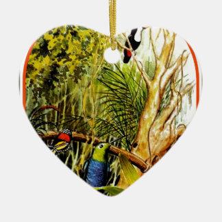 素晴らしい熱帯ジャングルの鳥の蝶写真 セラミックオーナメント