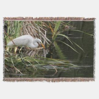 素晴らしい白鷺の鳥の野性生物動物の池 スローブランケット