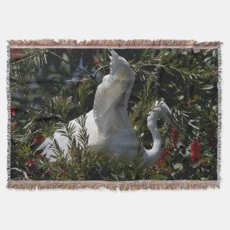素晴らしい白鷺の鳥の野性生物動物の花柄 ブランケット