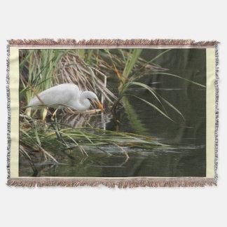素晴らしい白鷺及び池のブランケット 毛布