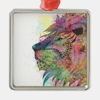 素晴らしい種族の水彩画のライオンのデザイン メタルオーナメント