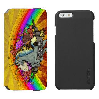 素晴らしい積み過ぎのユニコーン、虹及びベーコン INCIPIO WATSON™ iPhone 6 ウォレットケース