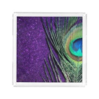 素晴らしい紫色の孔雀 アクリルトレー