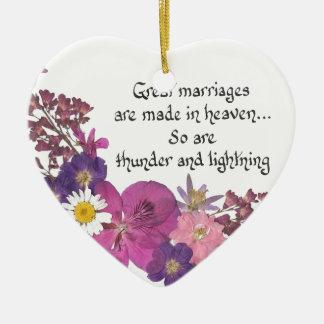 素晴らしい結婚は天国でなされます! セラミックオーナメント