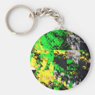 素晴らしい緑の黄色の抽象芸術の罰金のアートワーク キーホルダー