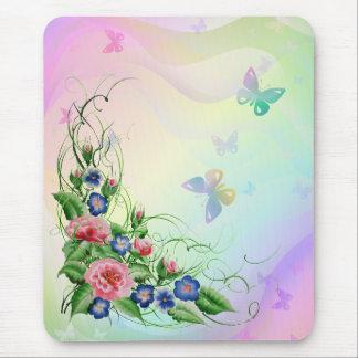 素晴らしい花および蝶 マウスパッド