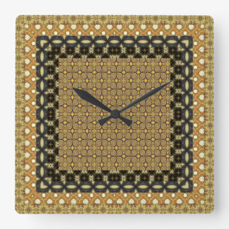 素晴らしい金ゴールドおよび黒いタイルを張られたモチーフ スクエア壁時計