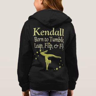 素晴らしい金ゴールドの名前入りな体操のフード付きスウェットシャツ パーカ