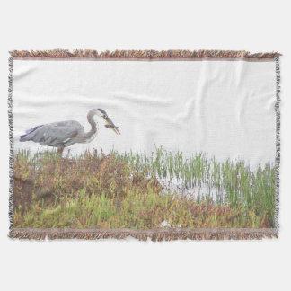素晴らしい青鷲の鳥の野性生物の沼地のブランケット ブランケット
