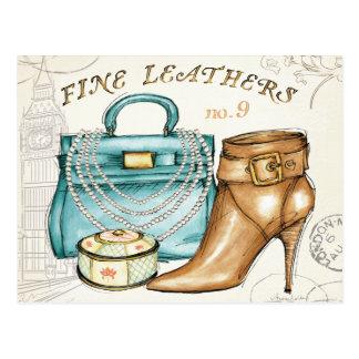 素晴らしい革製バッグおよび靴 ポストカード
