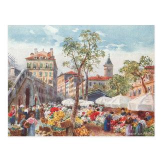 素晴らしい、フランスの花の市場 ポストカード